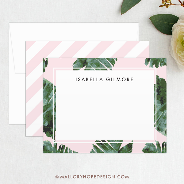 Palm Leaves Personalized Stationery Set, Palm Tree Stationary, Stationary Personalized, Personalized Thank You Cards, Palm Fronds, Tropical