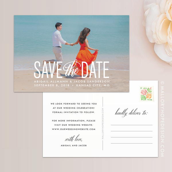 Simply Stated Photo Save the Date Postcard