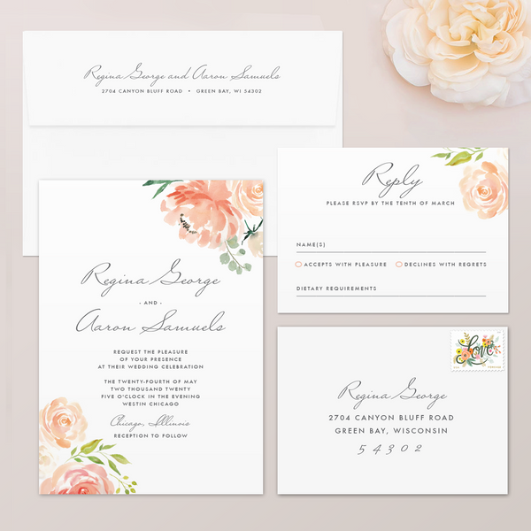 Watercolor Floral Wedding Invitation Set