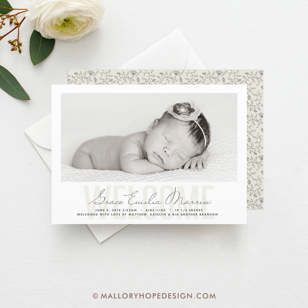 Welcome Photo Birth Announcement