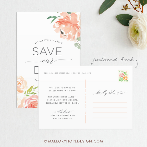Floral Save Our Date Postcard Back