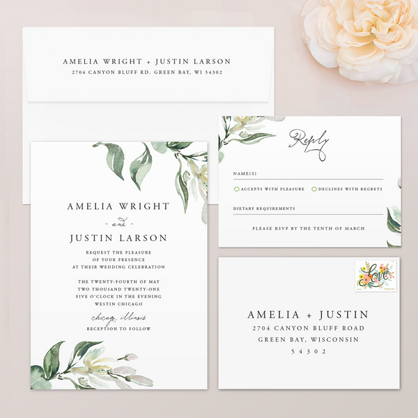 Greenery Tuscan Wedding Invitation
