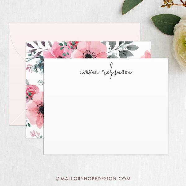 Floral Personalized Stationery Set, Script Personalized Stationary, Stationary Personalized, Personalized Thank You Cards,