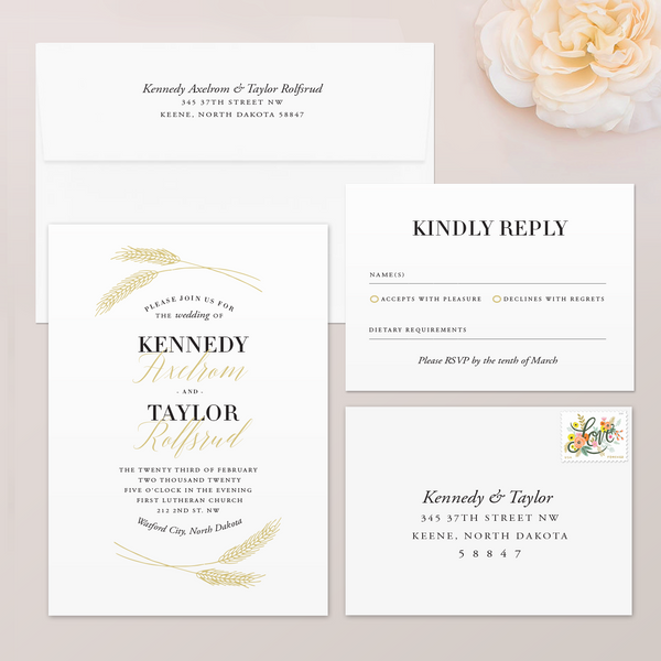 Wheat Wedding Invitation Suite