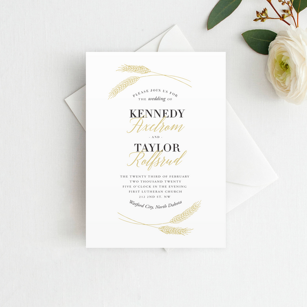 Wheat Wedding Invitation