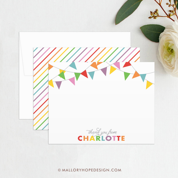 Banner Thank You Card, Banner Stationery, Rainbow Stationery