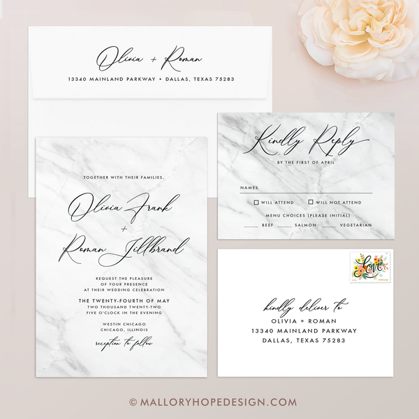 Marble Wedding Invitation - Suite