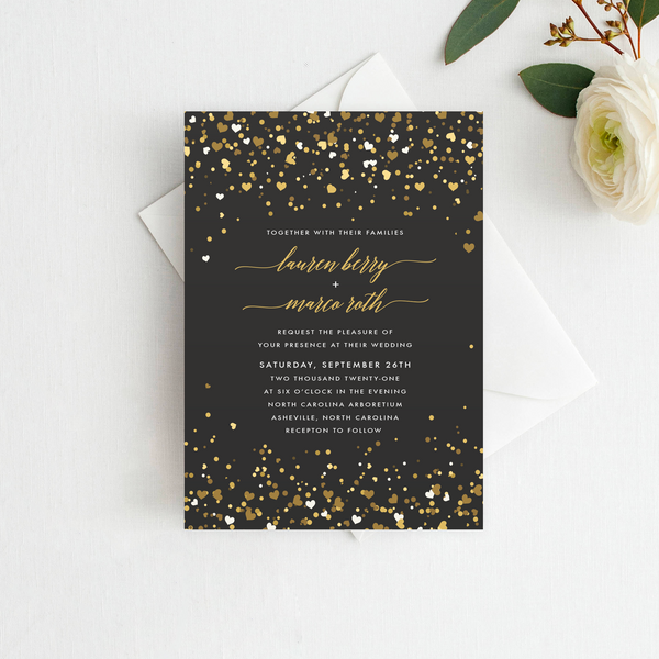 Confetti Wedding Invitation Rose
