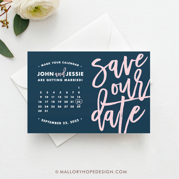 Handwritten Calendar Save the Date