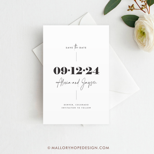 Minimal Save the Date Magnet, Postcard, or Flat Card
