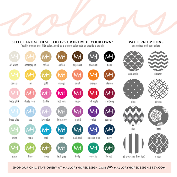Mallory Hope Design Colors & Backing Patterns