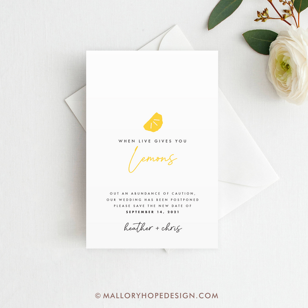 When Life Gives You Lemons Save the Date, Postponement Cards