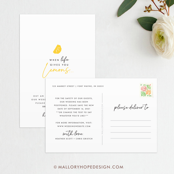When Life Gives You Lemons Save the Date, Postponement postcards