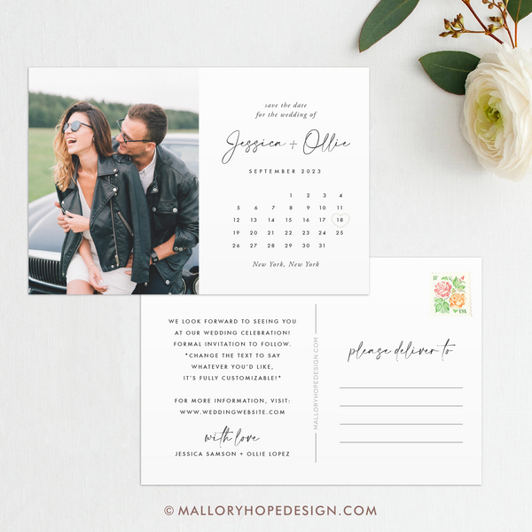Simple Calendar Photo Save the Date Postcard