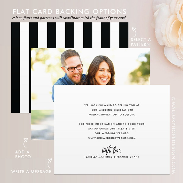 Save the Date Flat Card Backing Options