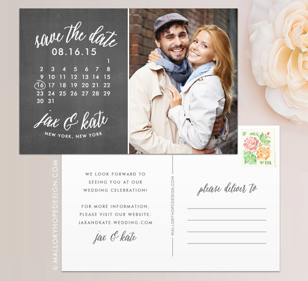 Calendar Photo Save the Date in Chalkboard