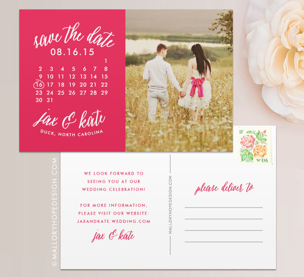 Calendar Photo Save the Date Postcard in Hot Pink