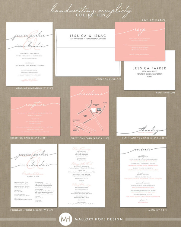 Handwriting Simplicity Wedding Suite