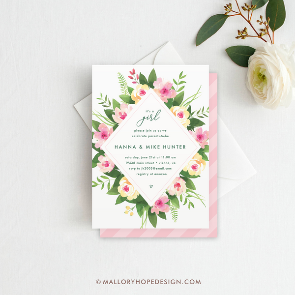 Floral Frame Baby Shower Invitation Mallory Hope Design