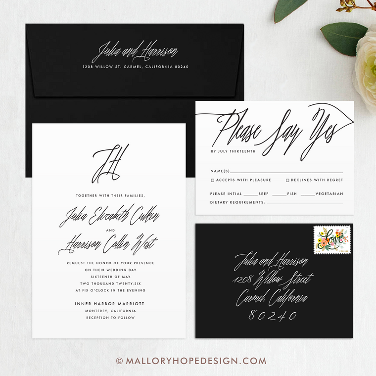 Signature Script Wedding Invitation Suite