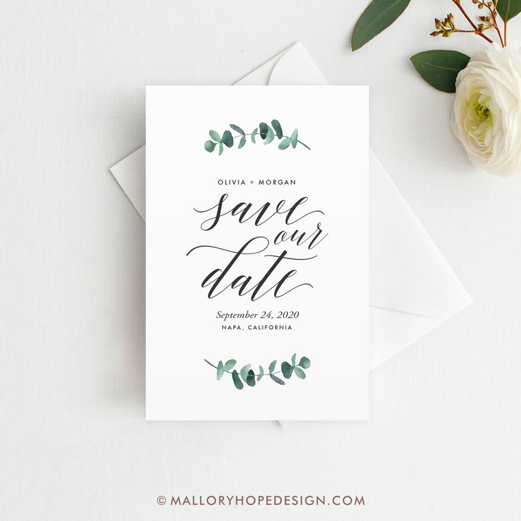 Eucalyptus Save the Date, Greenery Save the Date Magnet, Save the Date Card, Postcard, Wedding Save the Date, Greenery Save our Date