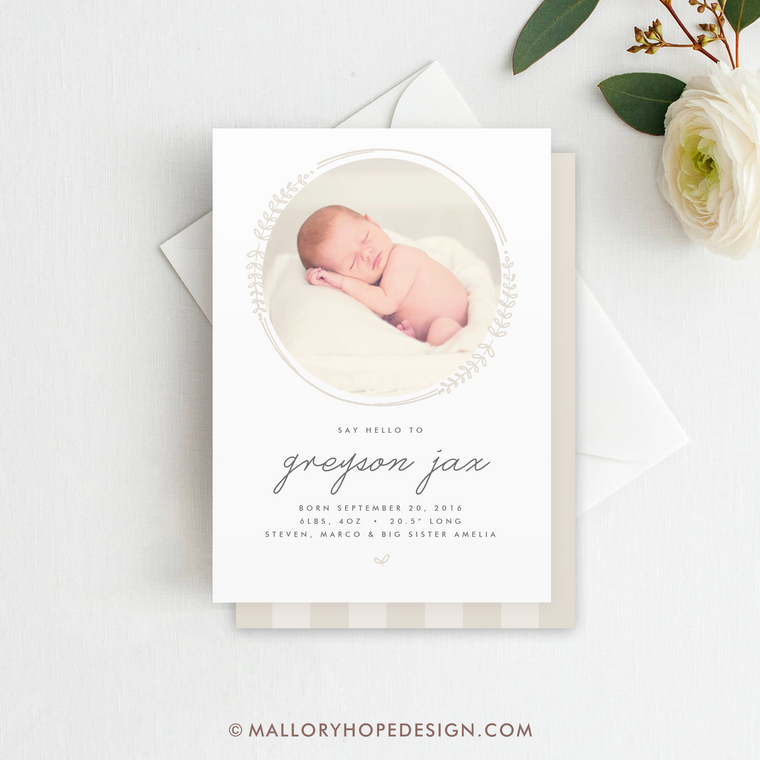 Bohemian Photo Birth Announcement
