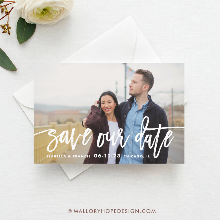 Handwritten Photo Save Our Date
