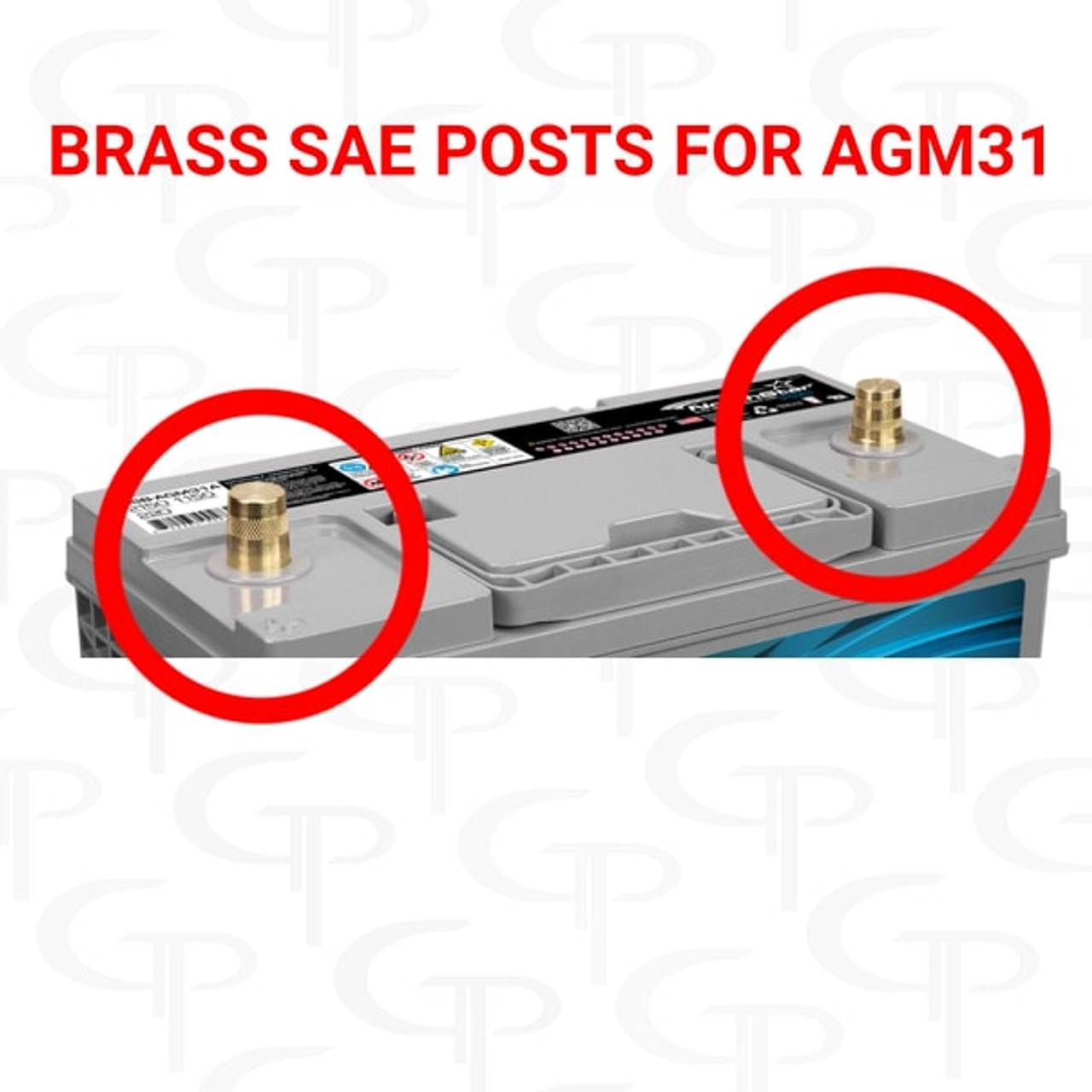 Brass SAE Posts for Northstar AGM31 (battery not included)