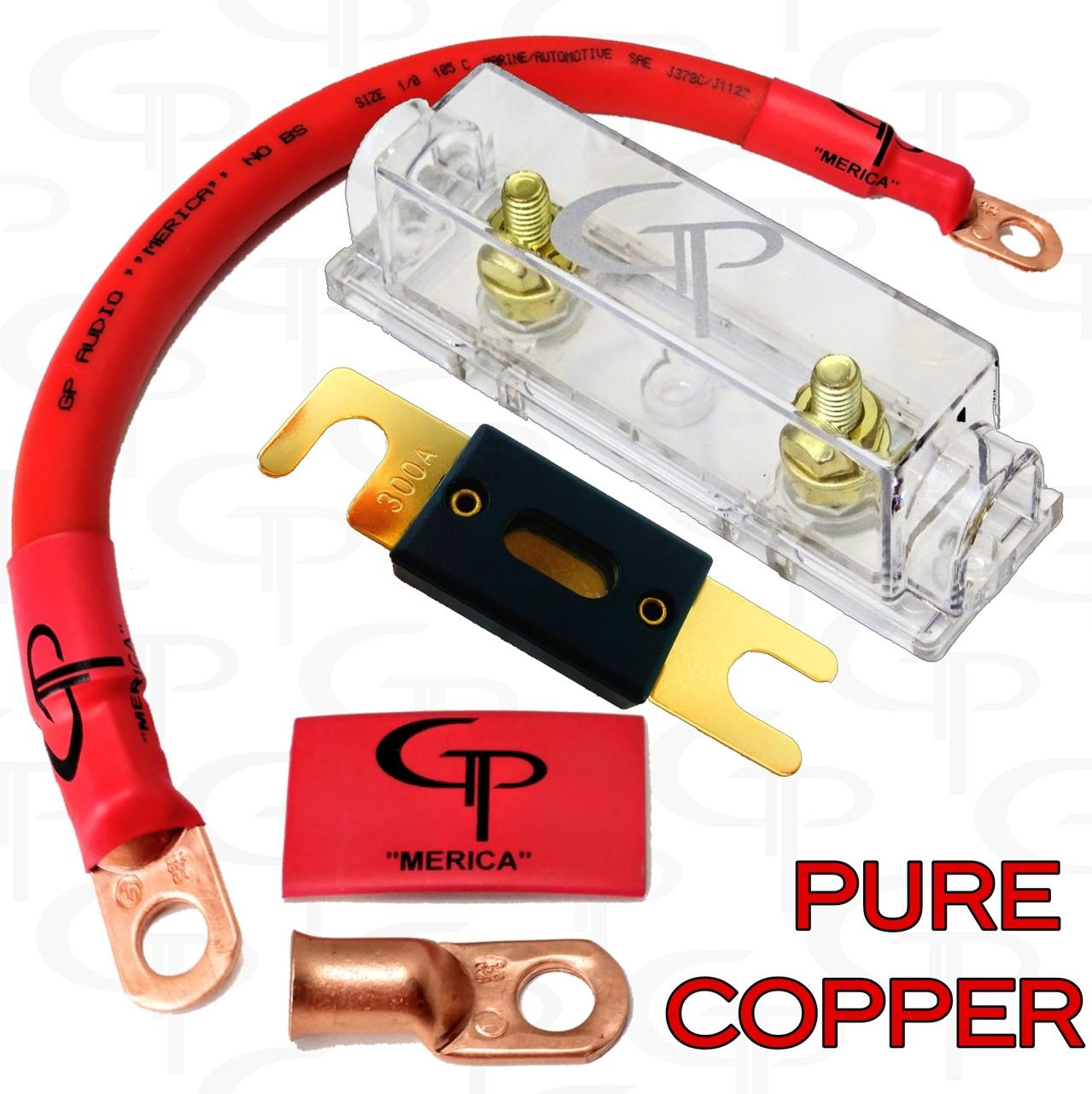 ANL Fuse block 80 amp FUSE w// 1//0 AWG Lugs and heat shrink GP Car Audio 2