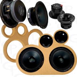 "Bundle Deal: 4) Deaf Bonce M61SE 6.5"" + 4) T25  Super Tweeters + GP dual door pod baffle"