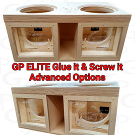 "GP ELITE Dual 8"" Compact High Performance Glue it & Screw It Sub Enclosure"
