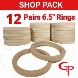 """SHOP PACK 12 Pair GP 6.5"""" Speaker Rings"""