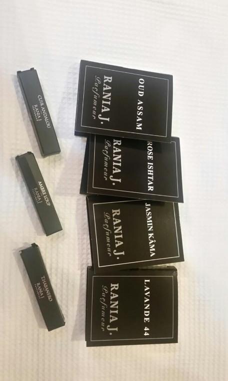 A Rania J. prepackaged spray sample set of 5.