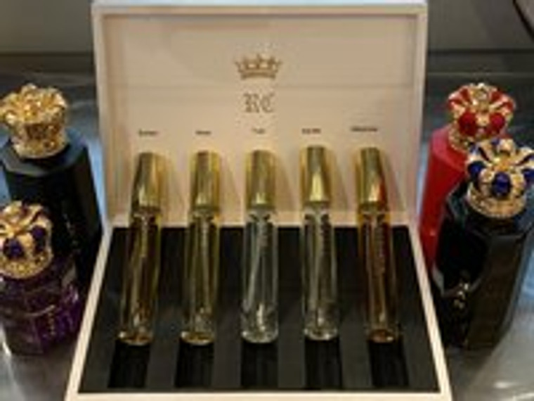 Royal Crown Discovery Set (4 x10mls) Extrait of Parfum Sprays in White Leather Case. (no. 4)
