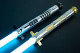 Top: Blackout Allegiant Smart Saber® with a black Order of Light switch. Bottom: Gold Allegiant Smart Saber® with a gold standard switch.
