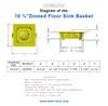 """Domed Floor Sink Basket 10.75"""" with Flange"""