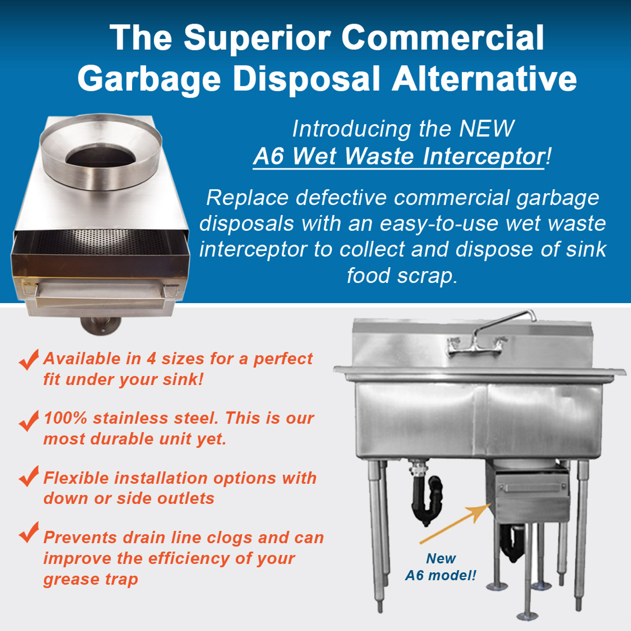 Garbage Disposal Replacement Unit for commercial kitchen compartment sinks