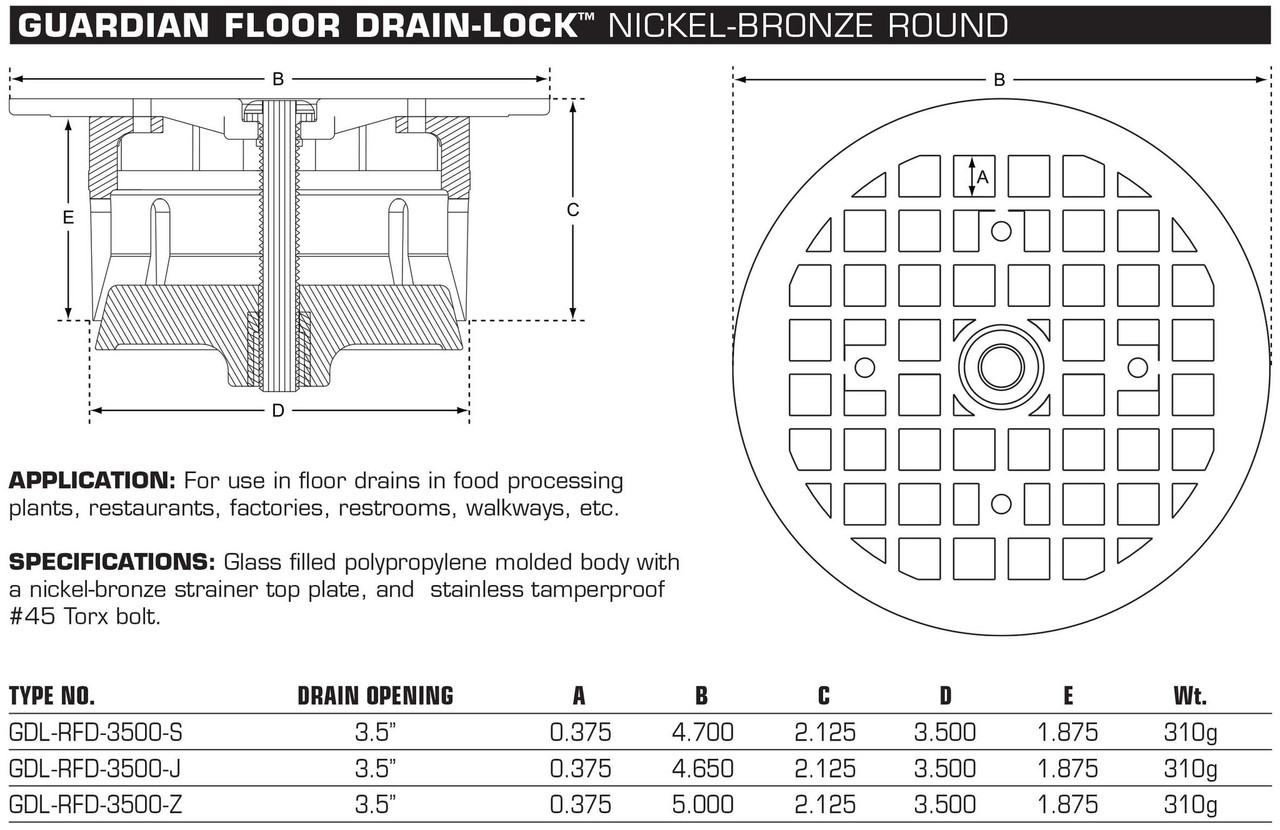 "Guardian Floor Drain-Lock Round - 4.7"" Smith Drain"