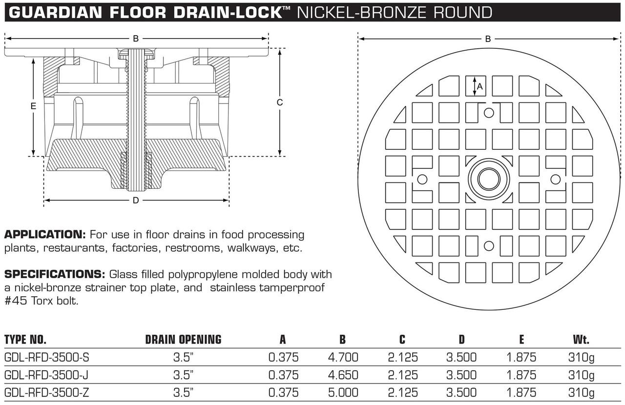 Guardian Round floor drain lock spec sheet
