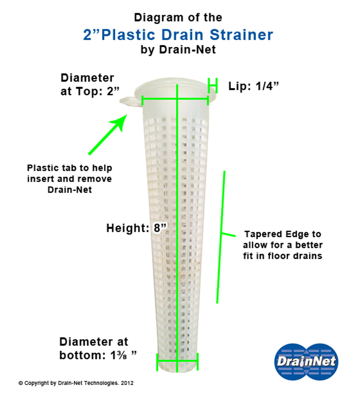 Commercial 2 IN Plastic Drain-Net Cone Strainer
