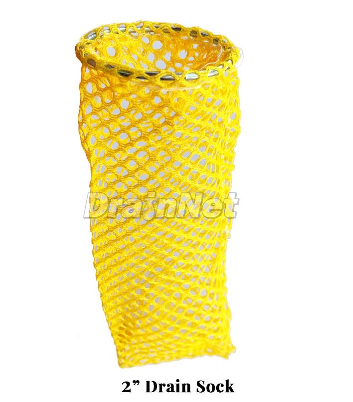 Yellow Flexible Drain Sock - 2 inch for restaurant floor drains
