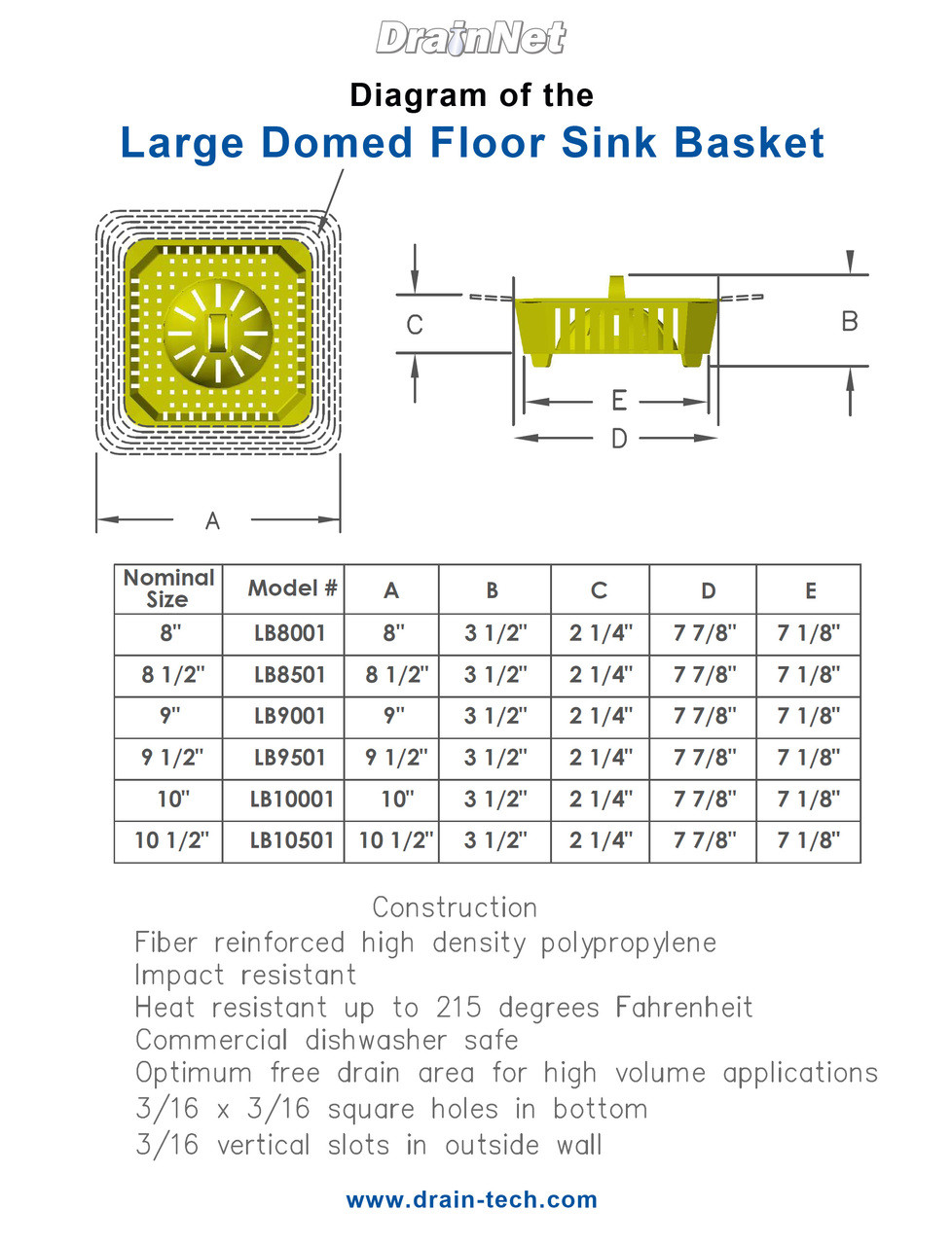 Domed Floor Sink Basket - 9.5 inch