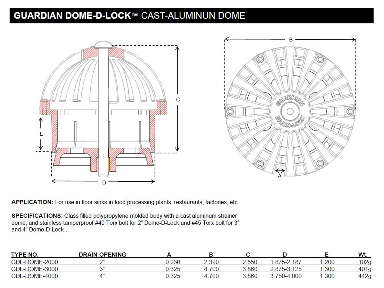 "Guardian Dome-D-Lock 2"" Specs"