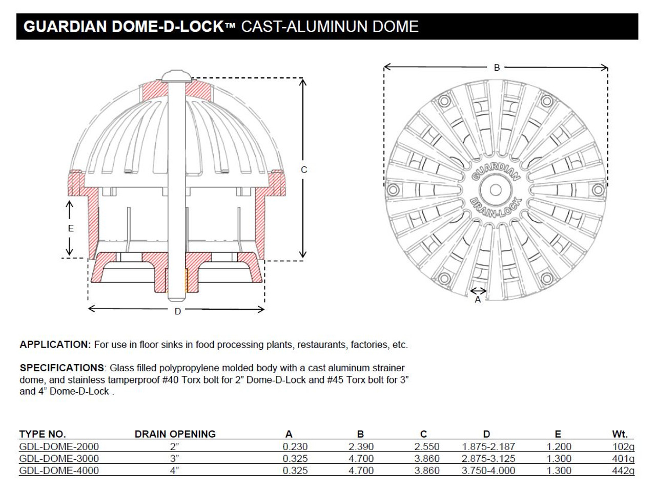 Spec sheet for Guardian Dome-D-Lock 3 inch