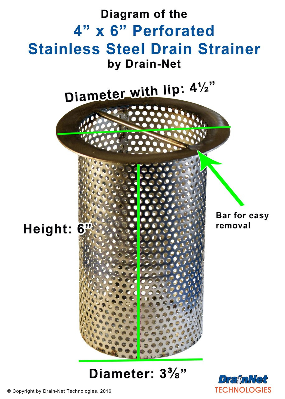 Stainless Steel Floor Drain Strainer - Perforated (Choose your size)
