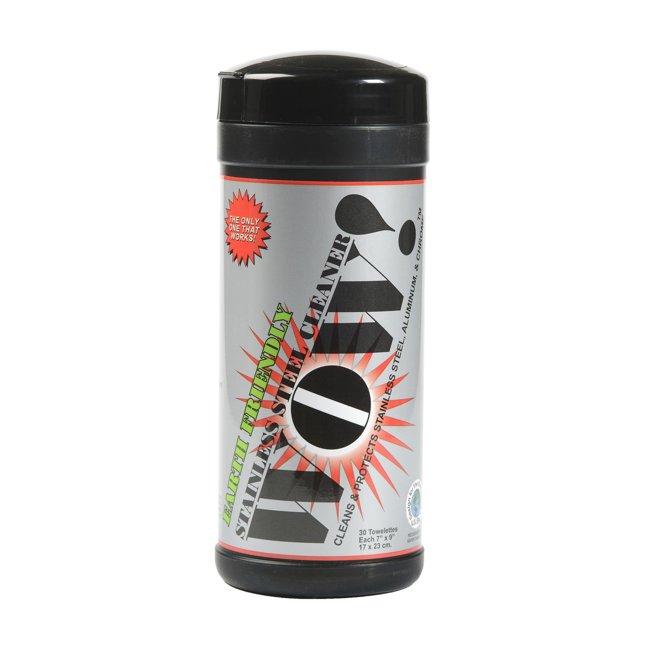 WOW! Stainless Steel Cleaner 30 Count Towelette Canister