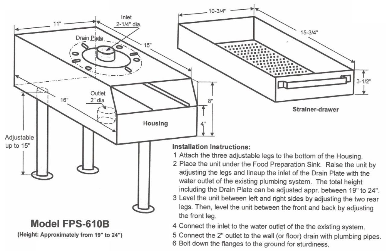 Garbage Disposal Drain Strainer with Drain Plate (Standard Legs)