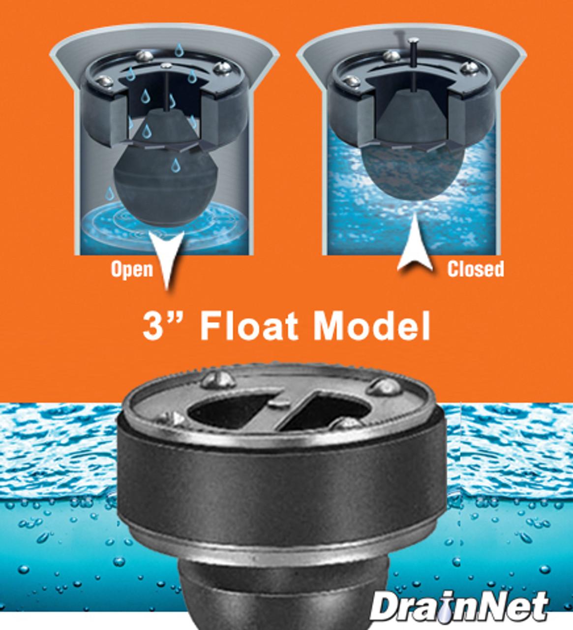 "Flood-Guard 3"" Float Model - stop drain flooding"