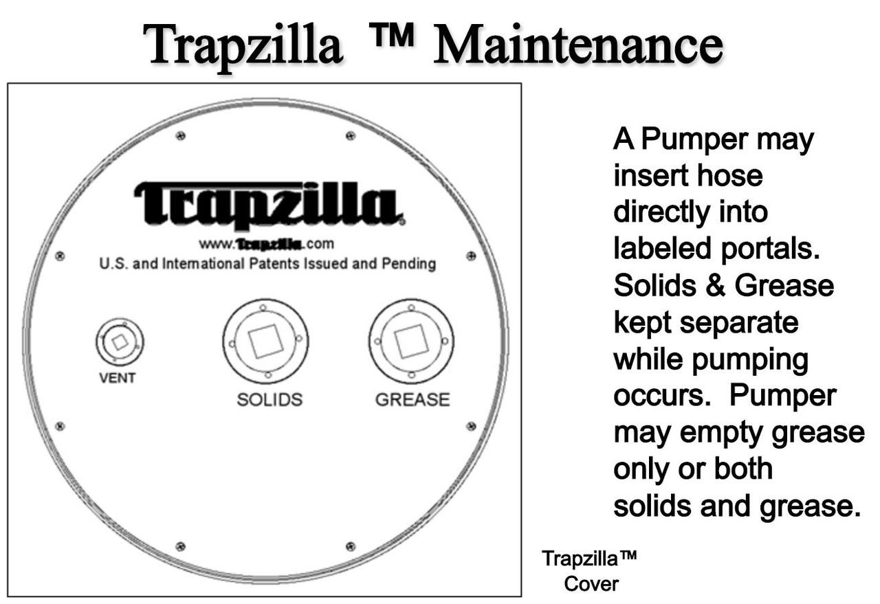 """Trapzilla Grease Interceptor, 3"""" Inlet/Outlet, 35 GPM Flow Rating, 167 lbs Grease Capacity"""