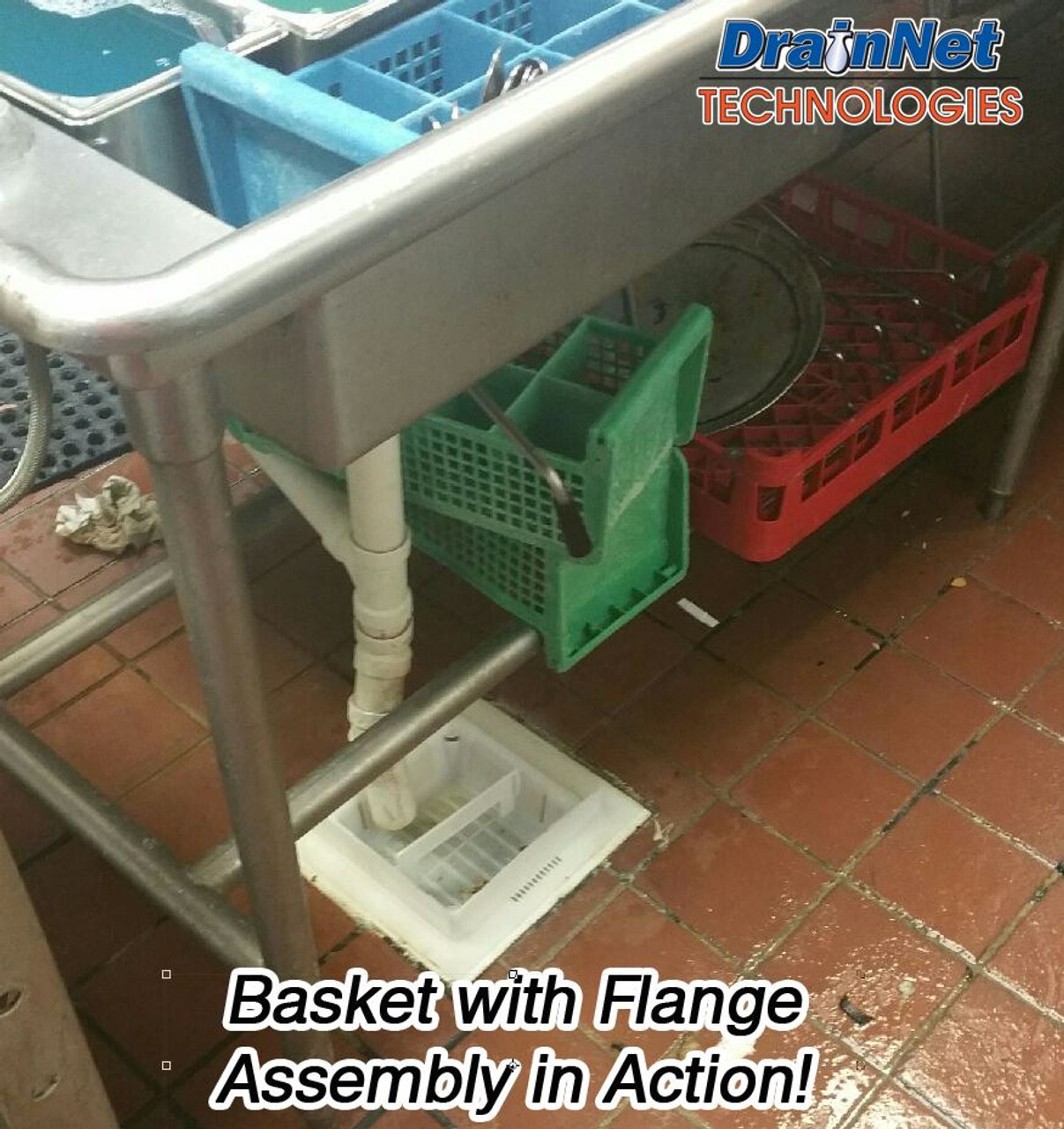 """12 IN Flange Basket Adapter with Drain Edge™ for 8 1/2"""" Baskets"""